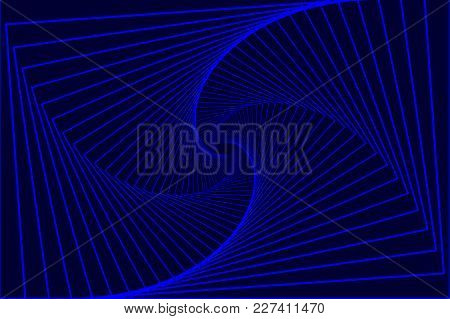Rotating Concentric Rectangle, Square Optical Illusion Pattern - Blue, Geometric Abstract Background