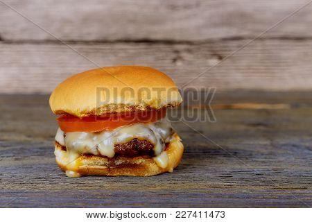 Home Made Burger. Fastfood Meal. Pub Burger. Delicious Hamburger. Gourmet Hamburger. Hamburger On Wo
