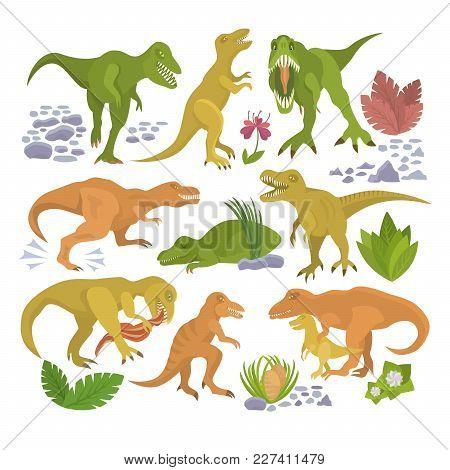 Dinosaur Vector Tyrannosaurus Rex Cartoon Character Dino And Jurassic Tyrannosaur Attacking Illustra