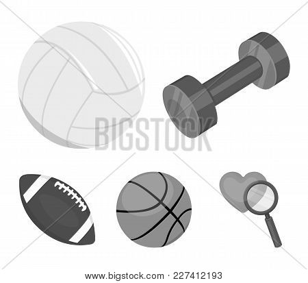 Blue Dumbbell, White Soccer Ball, Basketball, Rugby Ball. Sport Set Collection Icons In Monochrome S
