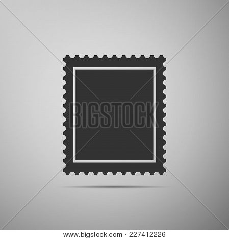 Postal Stamp Icon Isolated On Grey Background. Flat Design. Vector Illustration