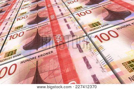Norwegian krone bills stacks background. 3D illustration.