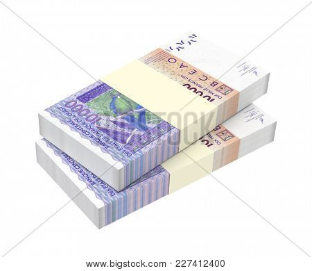West African CFA francs bills isolated on white with clipping path. 3D illustration.