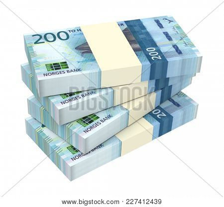 Norwegian krone bills isolated on white with clipping path. 3D illustration.