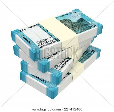 India Rupee bills isolated on white with clipping path. 3D illustration.