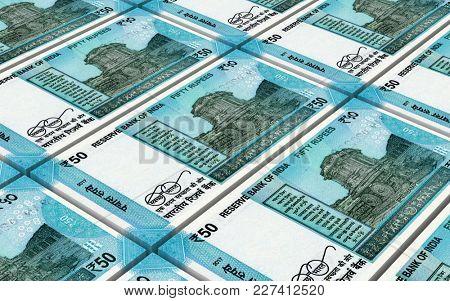India Rupee bills stacks background. 3D illustration.