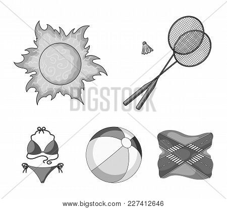 A Game Of Badminton, A Ball And The Sun.summer Vacation Set Collection Icons In Monochrome Style Vec