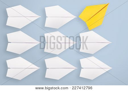 Change Concept With Yellow Paper Airplane Working