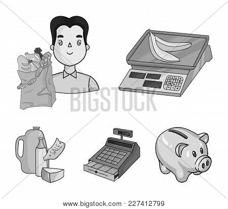 Package, Scales, Banana, Fruit .supermarket Set Collection Icons In Monochrome Style Vector Symbol S