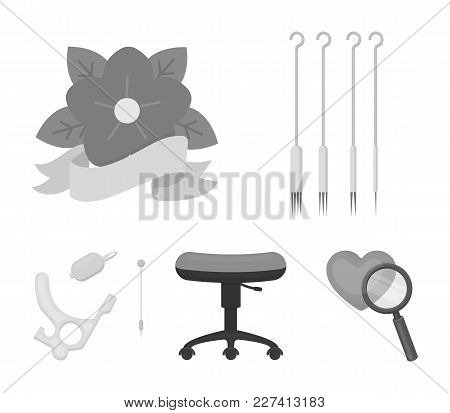 Chair On Rollers, Needles For Tattoo And Other Equipment. Tattoo Set Collection Icons In Monochrome