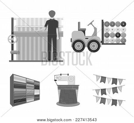 Equipment, Machine, Forklift And Other  Icon In Monochrome Style.textiles, Industry, Tissue, Icons I