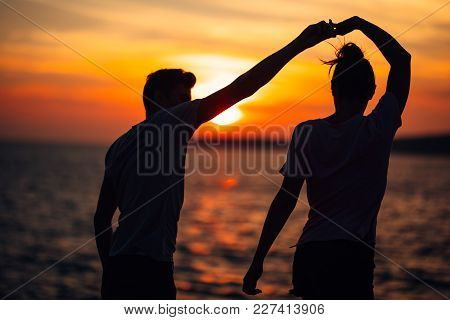 Romantic Couple Dancing On The Street.having A Romantic Date.celebrating Anniversary.valentines Day.