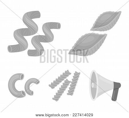Different Types Of Pasta. Types Of Pasta Set Collection Icons In Monochrome Style Vector Symbol Stoc