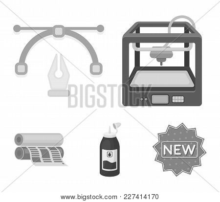 3d Printer, Newspaper Printer, Ink, Pen. Typography Set Collection Icons In Monochrome Style Vector