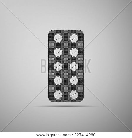 Pills In Blister Pack Icon Isolated On Grey Background. Medical Drug Package For Tablet: Vitamin, An