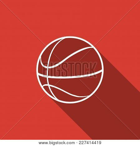 Basketball Ball Icon Isolated With Long Shadow. Sport Symbol. Flat Design. Vector Illustration