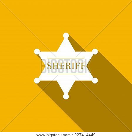 Hexagonal Sheriff Star Icon Isolated With Long Shadow. Sheriff Badge Symbol. Flat Design. Vector Ill