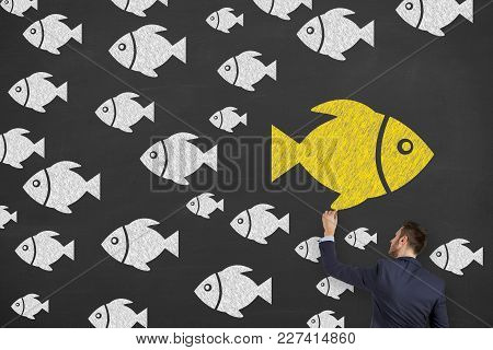 Fish Drawing Change Concepts On Blackboard Background