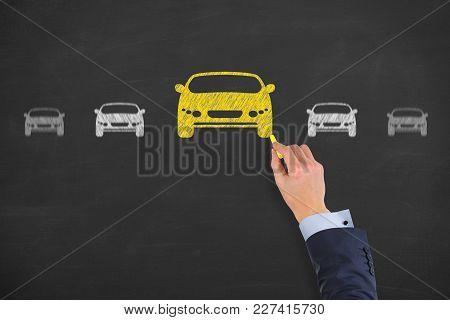 Human Hand Drawing Car Choose On Blackboard