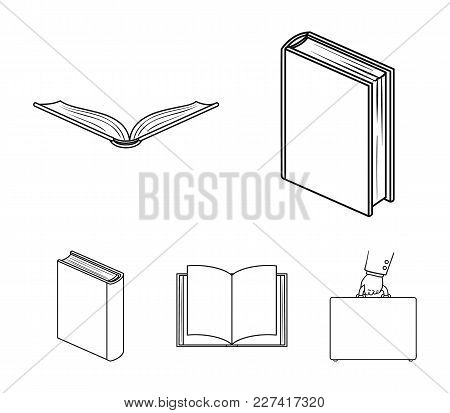 Various Kinds Of Books. Books Set Collection Icons In Outline Style Vector Symbol Stock Illustration