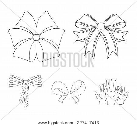 Bow, Ribbon, Decoration, And Other  Icon In Outline Style. Gift, Bows, Node, Icons In Set Collection