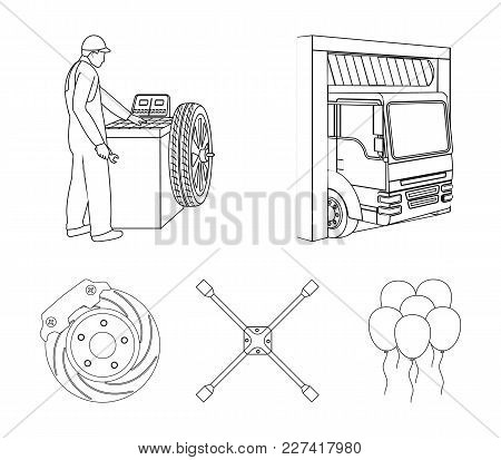 Wheel Balancing, Spanner And Brake Disc Outline Icons In Set Collection For Design.car Maintenance S