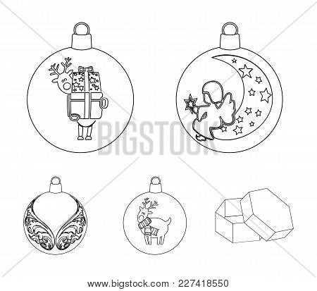 New Year's Toys Outline Icons In Set Collection For Design.christmas Balls For A Treevector Symbol S
