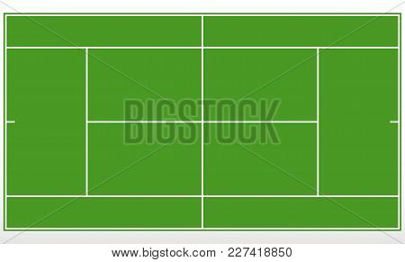 Tennis Green Field. Template Tennis Court With Lines. Vector Illustration.