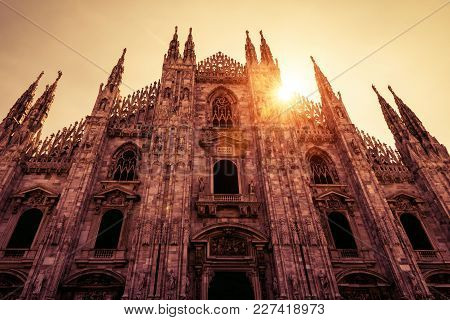 Milan Cathedral (duomo Di Milano) In The Sunlight In Milan, Italy. Milan Cathedral Is The Largest Ch