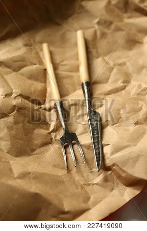 Handcraft, Dinner, Decoration Concept. There Is Simple But Adorable Siverware, A Knife And A Fork, T