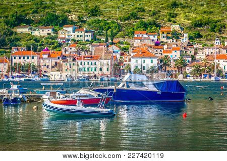 Seafront View At Coastal Town Vis In Southern Croatia, Famous Sailing Travel Destination In Mediterr