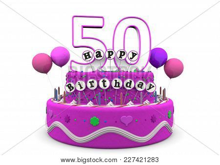 Pink Cake And Present With Happy Birthday And The Age