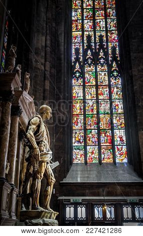 Milan, Italy - May 16, 2017: The Statue Of Saint Bartholomew Flayed In The Milan Cathedral (duomo Di