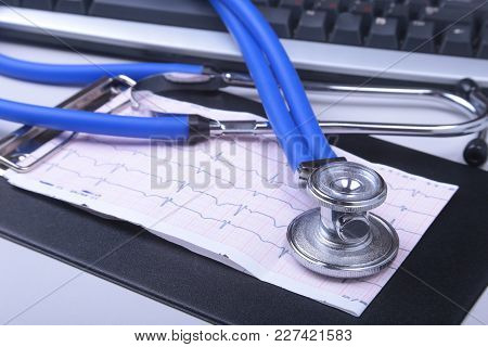 Stethoscope On Modern Laptop Computer. Rx Prescription. Healthcare Concept