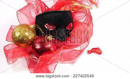 Carnival mask on a white background. Black carnival mask.