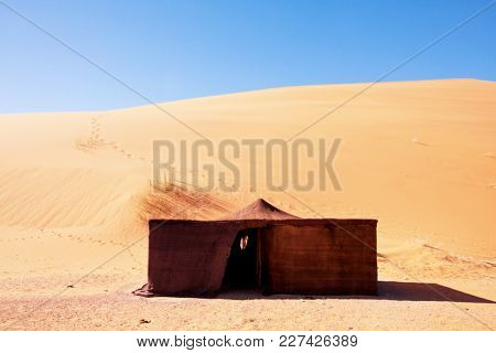 Bedouin tent. The traditional lifestyle in Morocco, Africa