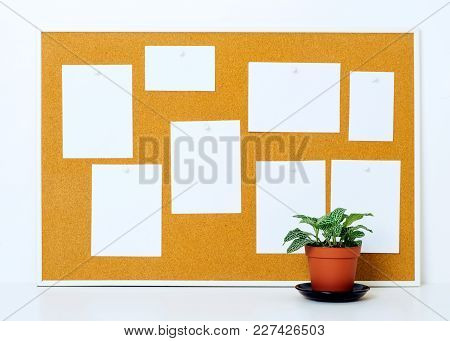Items Pinned To A Cork Message Board With Wood Frame, For Customized Text.