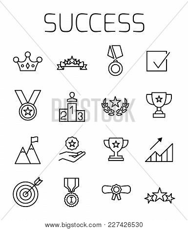 Success Related Vector Icon Set. Well-crafted Sign In Thin Line Style With Editable Stroke. Vector S