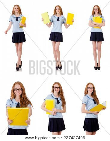 Young diligent student with textbooks isolated on white