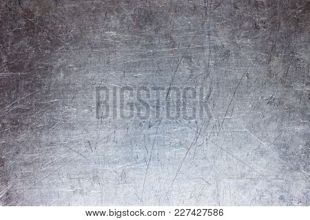 Gray Steel Plate Texture, Grunge Metal Background With Silvery Luster