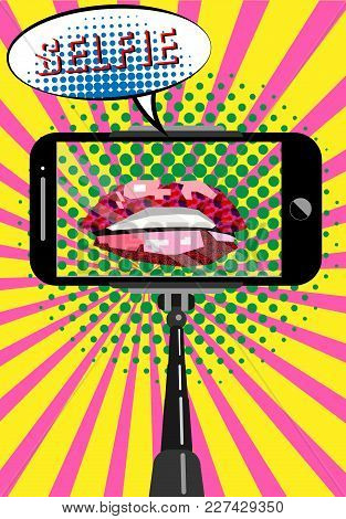 Selfie Concept Pop Art Style, Mobile Phone With Empty Screen On Monopod, Sweet Pair Of Glossy Vector