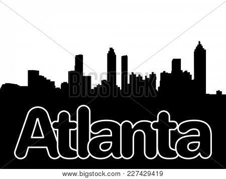 Atlanta skyline with overlapping text illustration