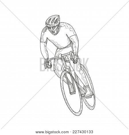 Doodle art illustration of an athlete riding a bike or cycle engaged in road bicycle racing, a cycle sport discipline of road cycling done in mandala style. poster