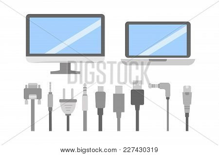 Vector Set Of Pc Flat Icons. Cable Wire Computer And Electricity Plug Collection