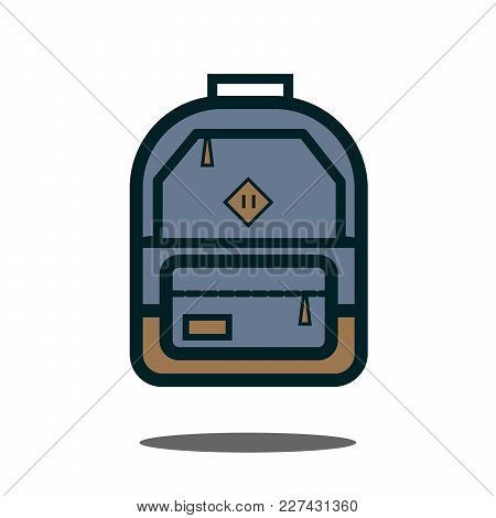 Gray Backpack. Isolated Backpack On White Background. Flat Icon Eps Vector Illustration