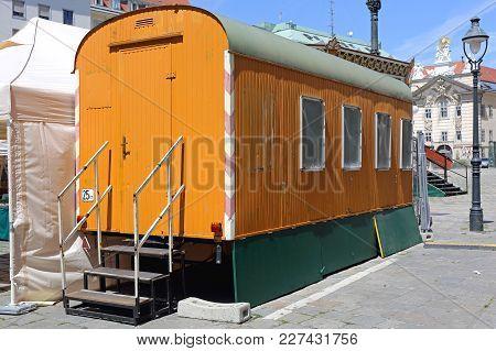 Travel Theatre Wagon Trailer At City Square In Vienna