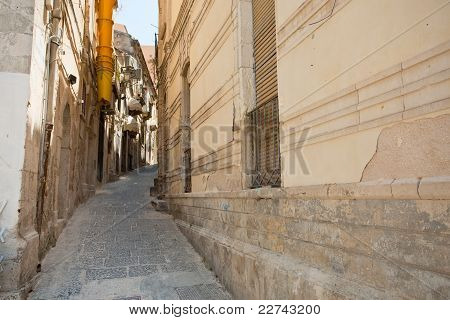narrow street Gemmellaro Mario in Syracuse Italy poster