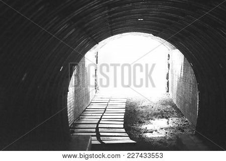 Black And White Tunnel Along The Newport Cliff Walk