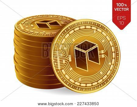 Neo. 3d Isometric Physical Coins. Digital Currency. Cryptocurrency. Stack Of Golden Coins With Neo S