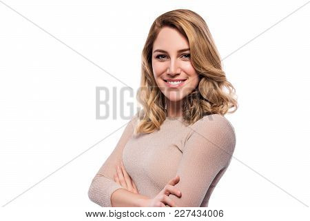 Attractive Blond Young Woman. Portrait Of A Beautiful Blond Woman On A White Background.